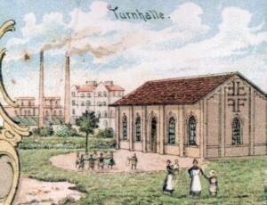 Die vereinseigene Turnhalle des TSV Grünwinkel wenige Jahre nach ihrer Fertigstellung, etwa um 1900.