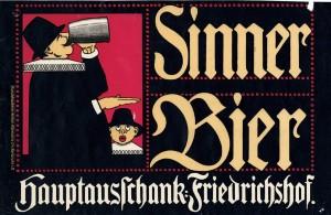 Über viele Jahre waren der biertrinkende Rathsherr und sein Junge das Erkennungszeichen der Brauerei Sinner.