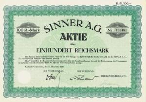 Sinner-Aktie aus dem Jahr 1926.