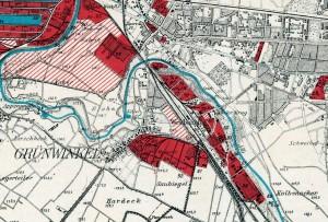 Für Industriezwecke genutzes (rot) bzw. vorgesehendes (schraffiert) Gelände in Grünwinkel 1913 (oben) und 1920 (unten).