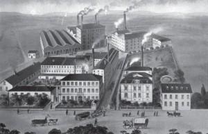 Das Firmengalände Sinner im Jahr 1880.