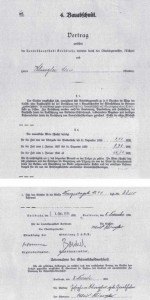 Teile des Vertrags, den der Siedler Alois Klingler 1935 mit der Stadt Karlsruhe geschlossen hatte.