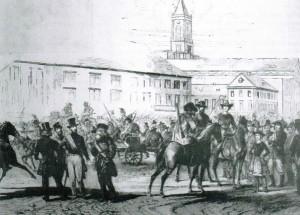 Einzug der pfälzischen Freischaren am 19. Juni 1849 in Karlsruhe. Die Personengruppe links zeigt Ludwik von Mieroslawski, Lorenz Brentano und Georg Böhning sowie vor den Pferden in soldatischer Kleidung Franziska Anneke.