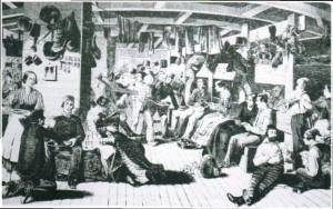 Auswanderer im Zwischendeck um 1850.