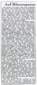 Auf römerspuren - eine Pressemittleilung von 1947.