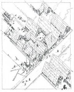 Rekonstruktion eines Straßendorfes mit Streifenhäusern am Beispiel von Köngen.