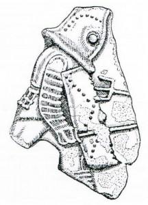 Fragment einer grünglasierten Keramikschale mit Darstellung eines Gladiators. Das Fragment ist heute verschollen.