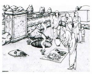 Rekonstruktion eines Urnenbegräbnisses. Im Hintergrund ist eine Begräbnisstraße zu sehen.